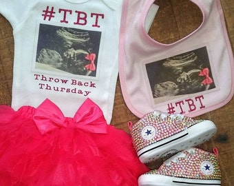 Custom Infant/Baby Onesie- #TBT- Ultrasound- Throw Back Thursday Onesie- Baby Shower Gift- New Baby Gift- Unique- Valentines Day Onesie