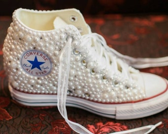 Off Brand Wedge Wedding Sneakers- Bridal Sneakers- Bling   Pearls Custom  Wedge Sneakers- Wedding Sneakers- Wedge hochzeit-NOT Converse Brand 81a9ce444