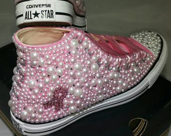 5ff2a602e002b1 Breast Cancer Custom Converse- Pink Ribbon Bling   Pearls Custom Converse  Sneakers- Personalized Chuck Taylors- All Star Converse Sneakers-