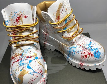 c6c9e36fa9 White and Gold 24K Timberland Boots- Custom Timberlands-