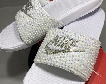 49abd901282c37 Women s Nike Benassi Slide Sandals- Bling Nike Slides- Bling   Pearls Nike  Slide Shoes- Custom Nike Slides- Swarovski Crystal Nike Slides