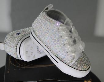 a1533c10dfbb Custom Converse- Baptism- Christening- Baby Bling Converse- Bling Sneakers-  Baby Converse- Kids Converse- Birthday Converse- Bling Sneakers
