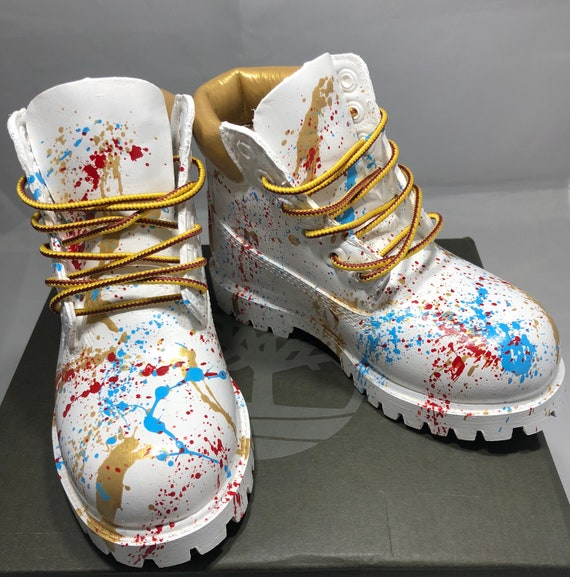 White and Gold 24K Timberland Boots Custom Timberlands