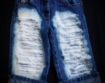 Distressed Jeans or Shorts- Ripped Jeans- Jeans with Chains- Baby Girl Jeans- Baby Boy Jeans- Newborn- Infant- Toddler- Kids Fashion Clothes