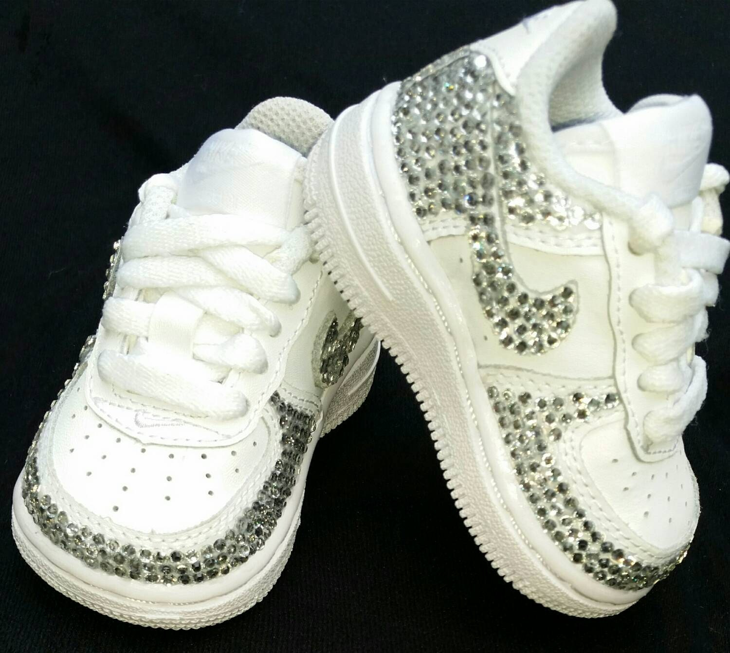 Custom Bling Air Force Ones Bling Tennis Shoes Bling   Pearls  a35564dcb