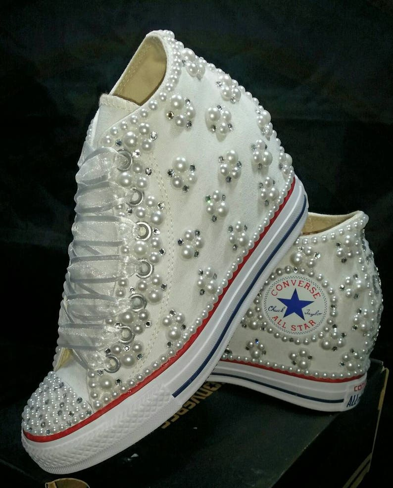 0229365d690a Off Brand Wedge Wedding Sneakers Bridal Sneakers Bling