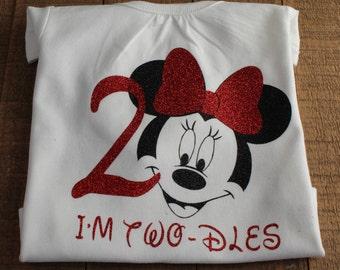 Minnie Mouse Birthday Onesie- 2nd Birthday Onesie- Girls Birthday Onesie- Girls Birthday Shirt- Birthday Girl Outfit- Minnie Mouse Birthday