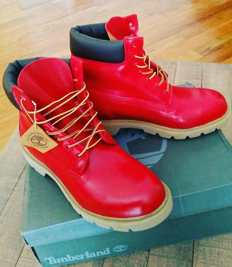 Red Timberland Boots Custom Timberlands