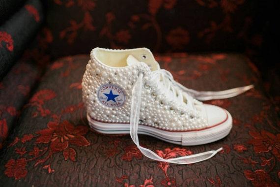 Off Brand Wedge Wedding Sneakers Bridal Sneakers Bling & Pearls Custom Wedge Sneakers Wedding Sneakers Wedge hochzeit NOT Converse Brand