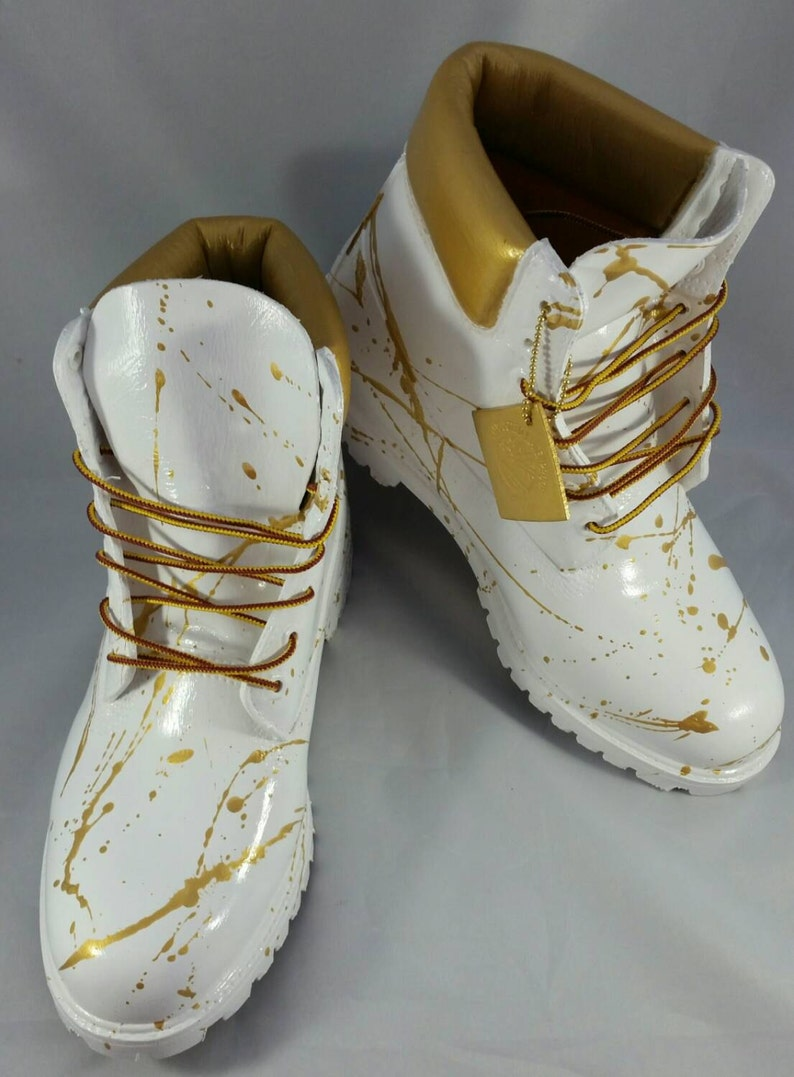 White and Gold 24K Timberland Boots Custom Timberlands White  b0611b1ac0c3