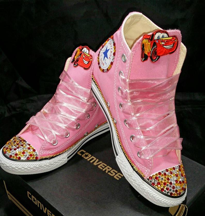 5b95fc43c0ba9 Girls Custom Converse- Kids Converse- Bling Converse- Lightning Mcqueen  Converse- Shopkins- Minnie Mouse- Doc Mcstuffins- Paw Patrol- Emoji