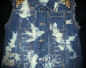 Custom Distressed Denim Jacket Vest- Ripped Vest- Kids Birthday Vest- Baby Girl- Baby Boy- Newborn- Infant- Toddler- Kids Fashion Clothes