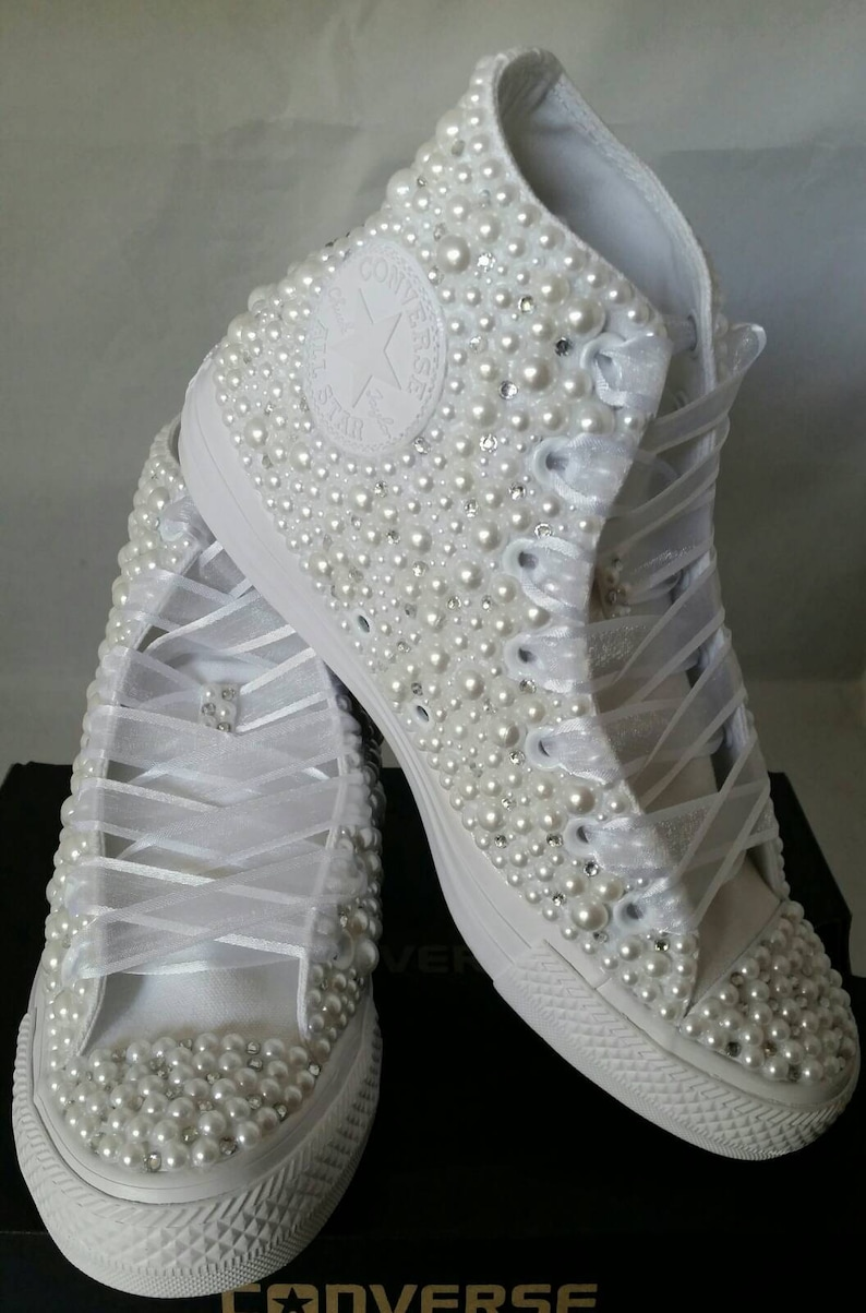 Wedding Converse Bridal Sneakers Bling   Pearls Custom Converse ... 7ce241e39a