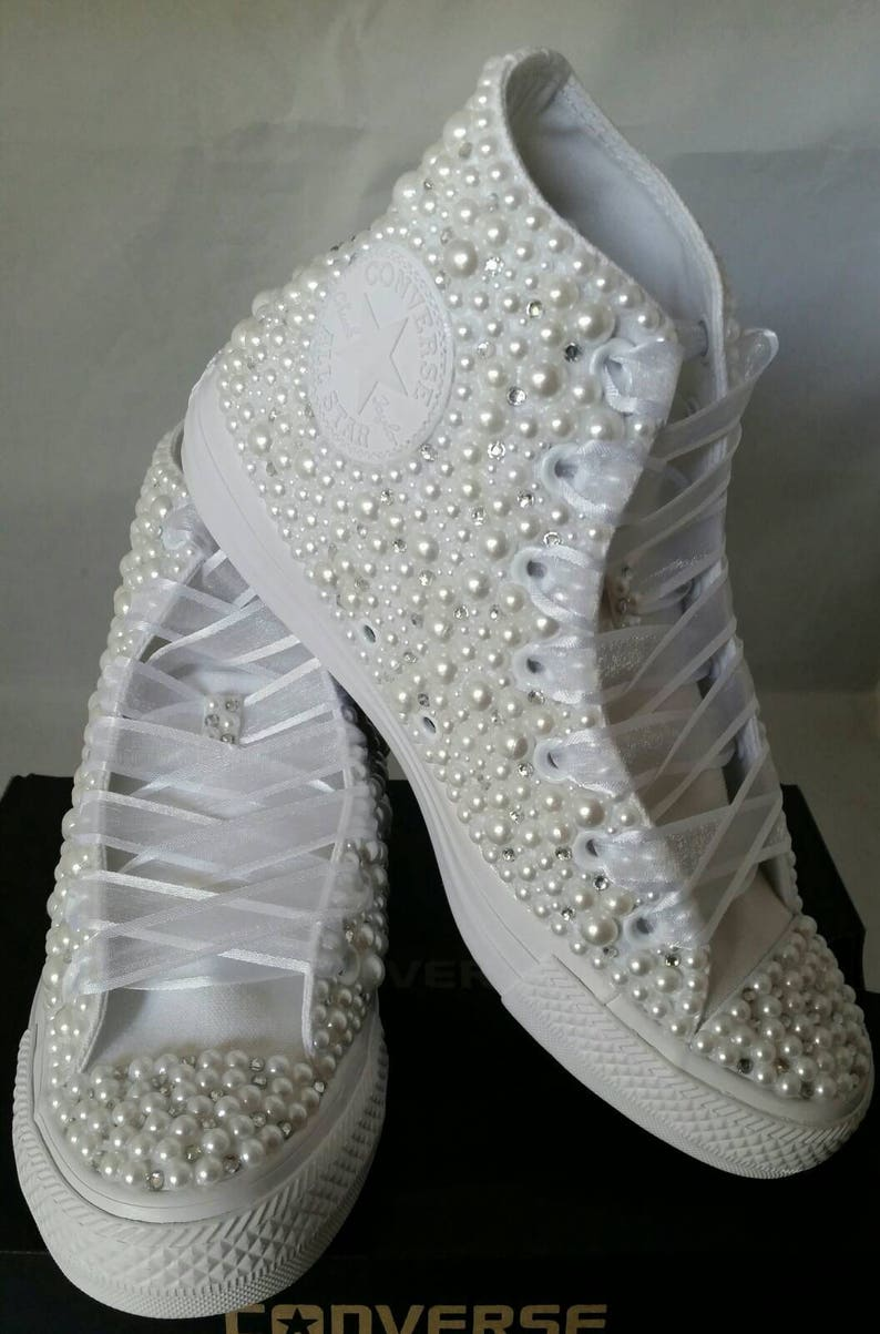 2bda1c363a2 Wedding Converse Bridal Sneakers Bling   Pearls Custom