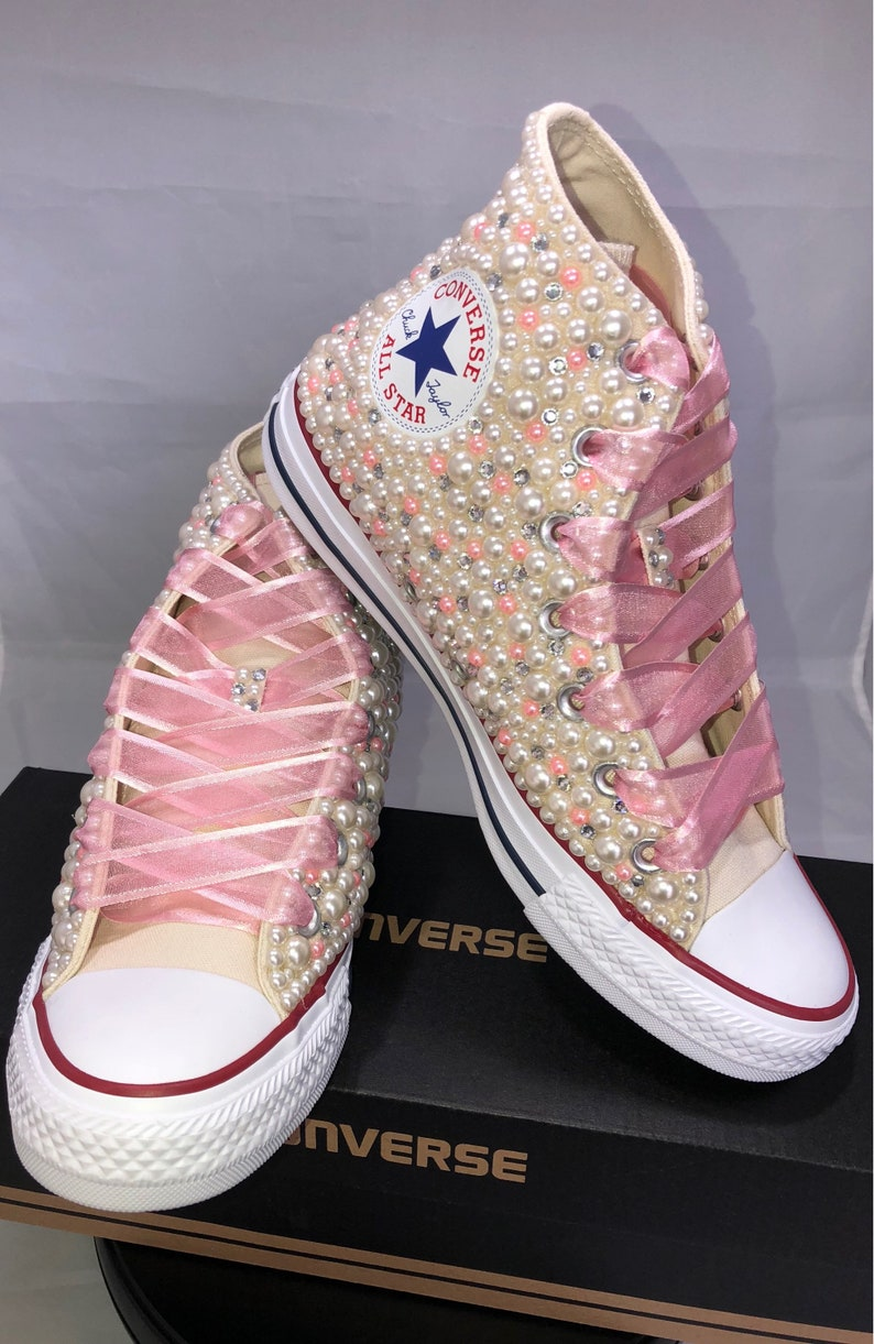 2005ee30c6b219 Wedding Converse Bridal Sneakers Bling   Pearls Custom