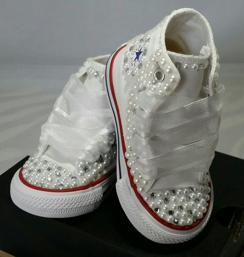 266d40a71e0 Flower Girl Wedding Converse Bridal Sneakers Bling   Pearls