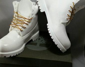 White Timberland Boots- Custom Timberlands- Cocaine Timberlands- Mens Timberland Boots- Womens Timberland Boots- Kids Timberlands- Timbs