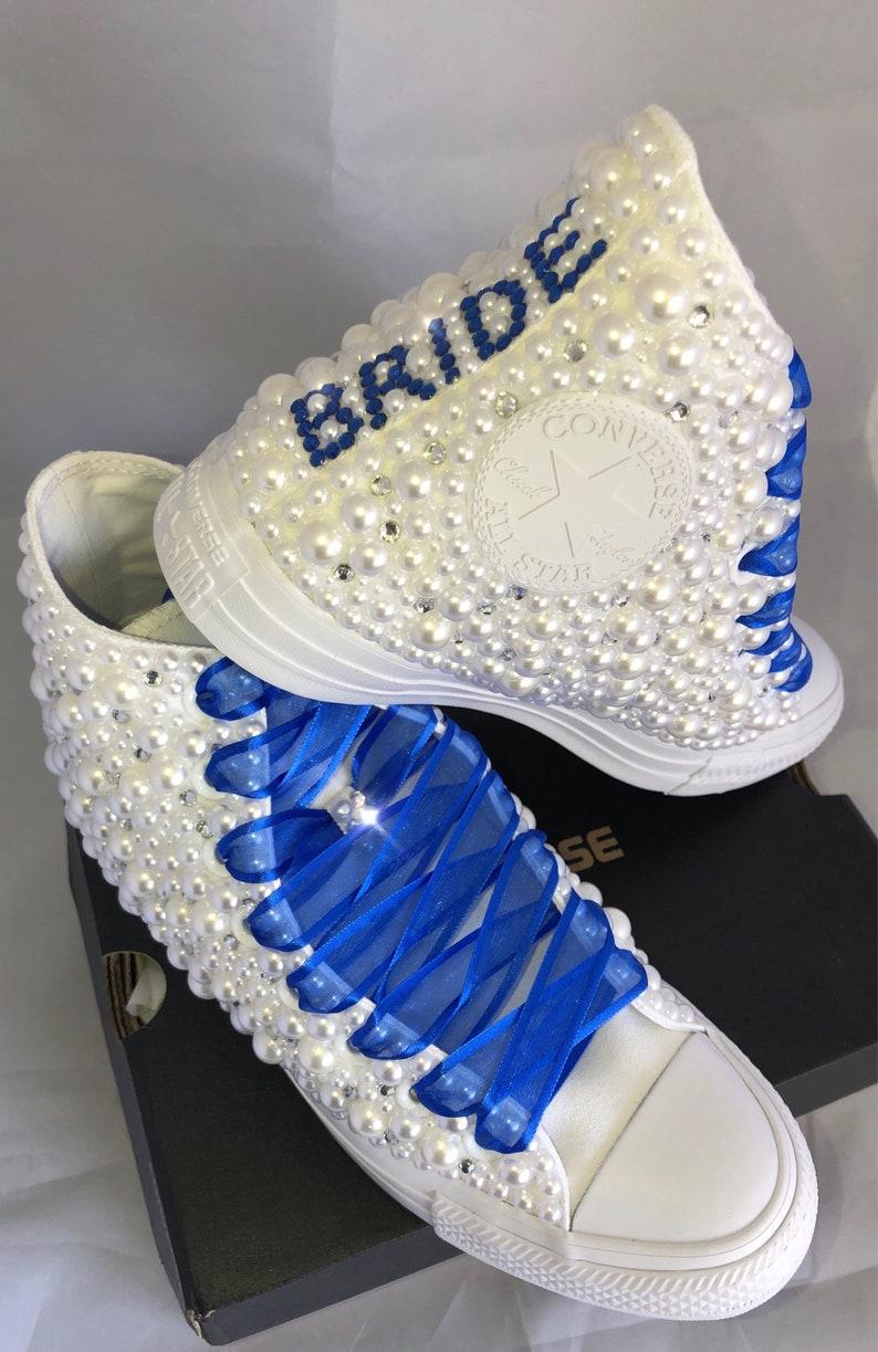 best sneakers 9b711 71af7 Wedding Converse Bridal Sneakers Bling   Pearls Custom   Etsy