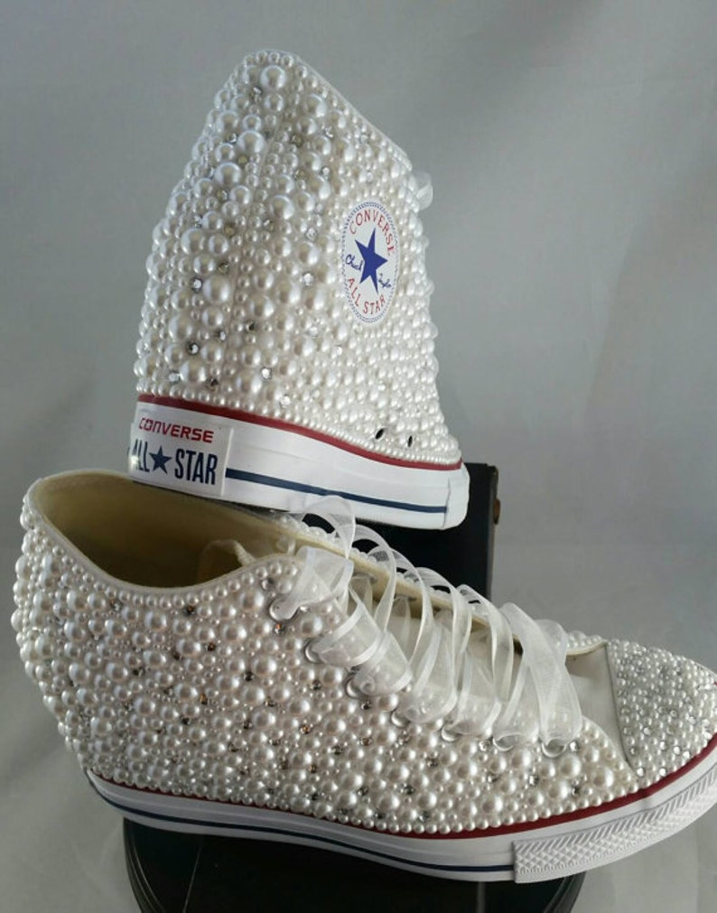 2ddbf9081ec8ae Wedge Wedding Converse Bridal Sneakers Bling   Pearls Custom