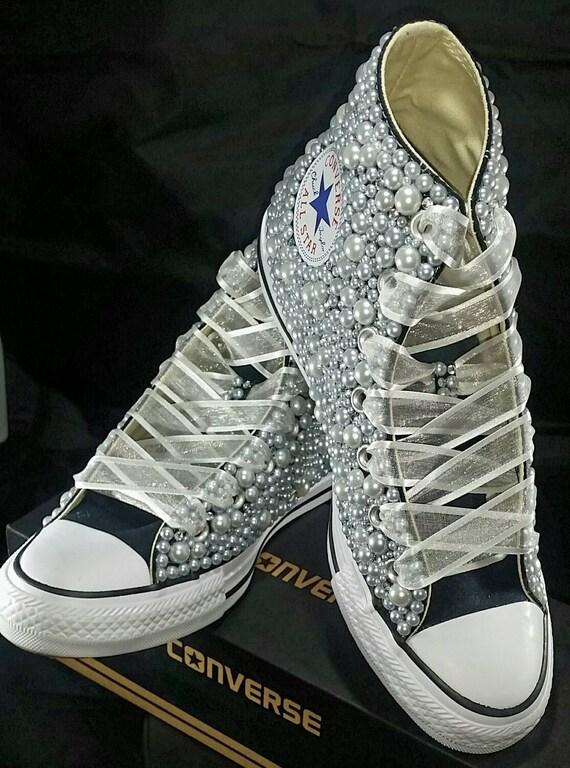 Wedding Converse Bridal Sneakers Bling Pearls Custom Etsy