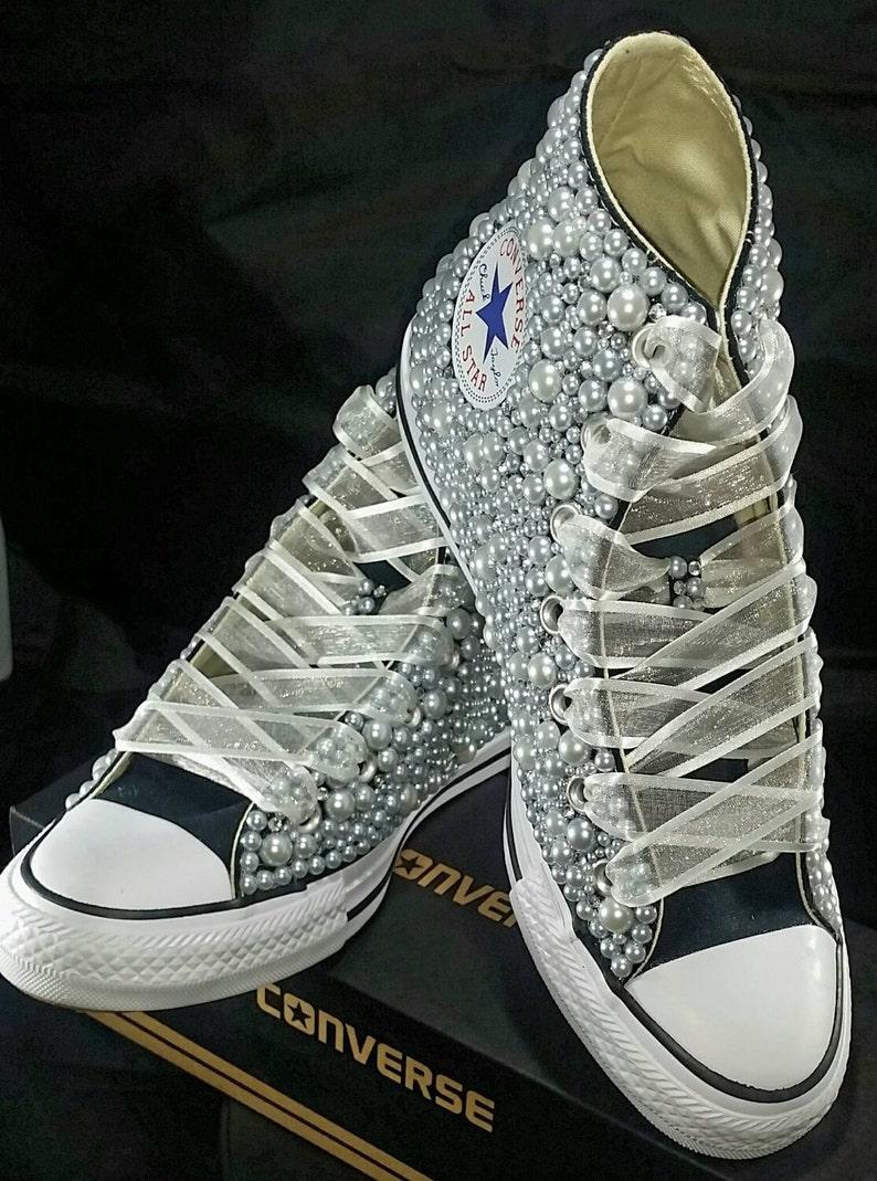 197685104d35f6 Wedding Converse Bridal Sneakers Bling   Pearls Custom