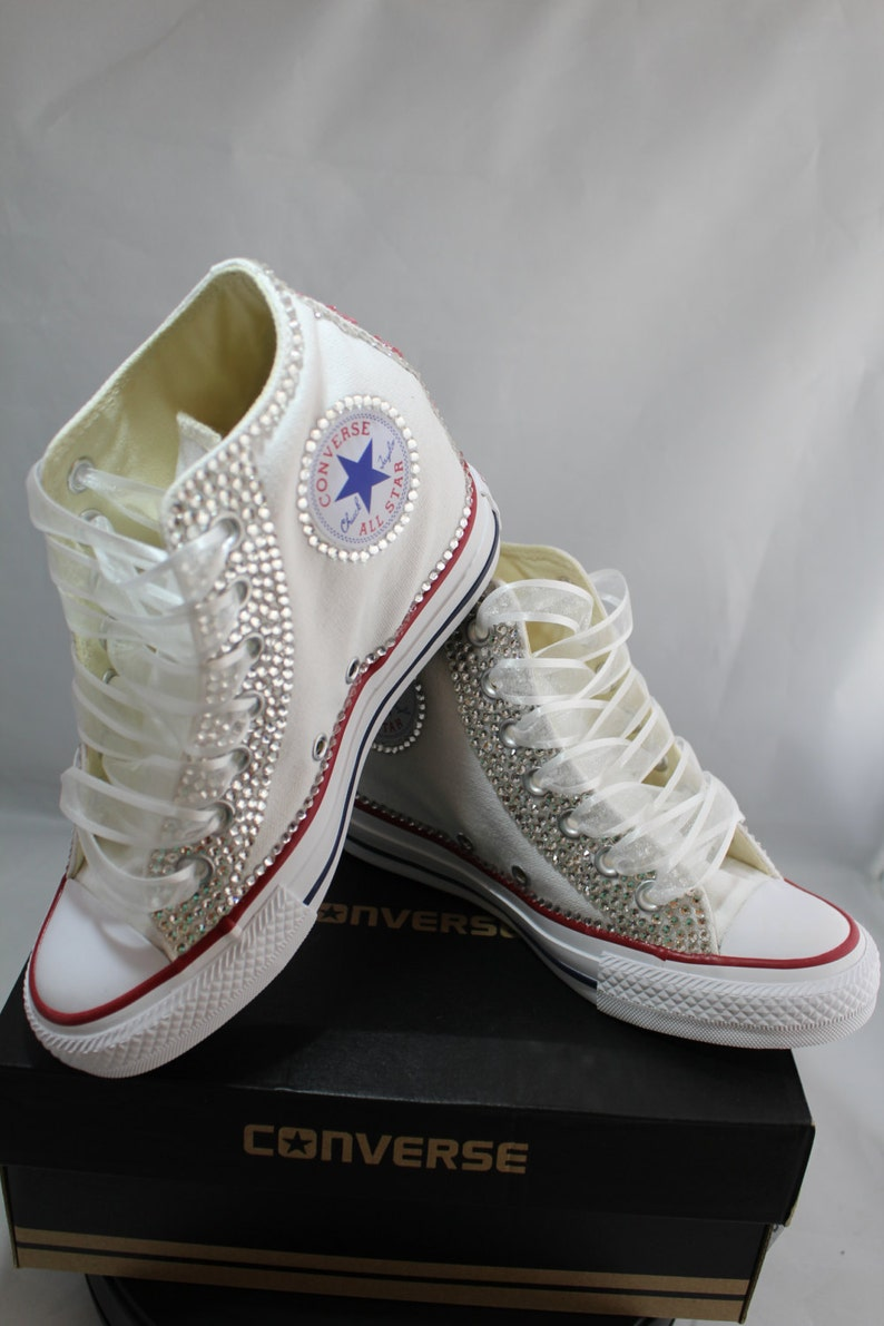 38d54a835fe4a4 Off Brand Wedge Full Bling Wedding Sneakers Bridal Sneakers