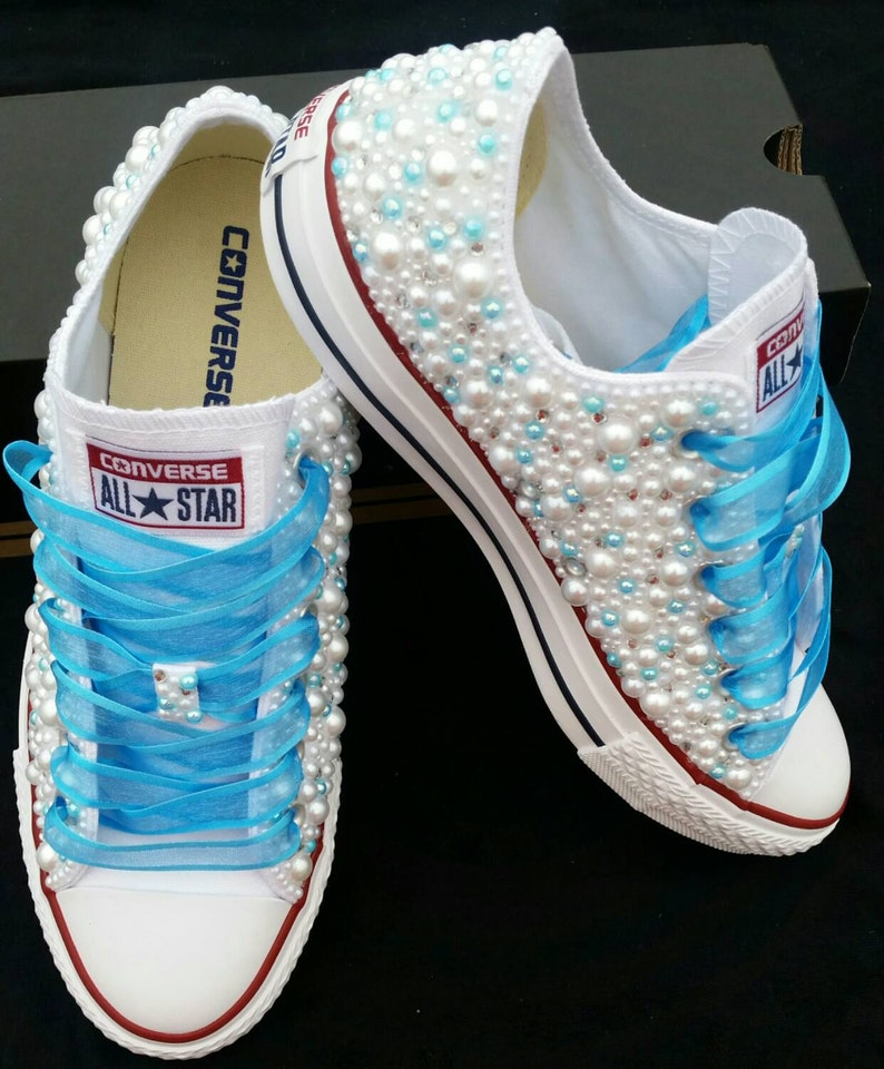 8616f100e748 Wedding Converse Bridal Sneakers Bling   Pearls Custom
