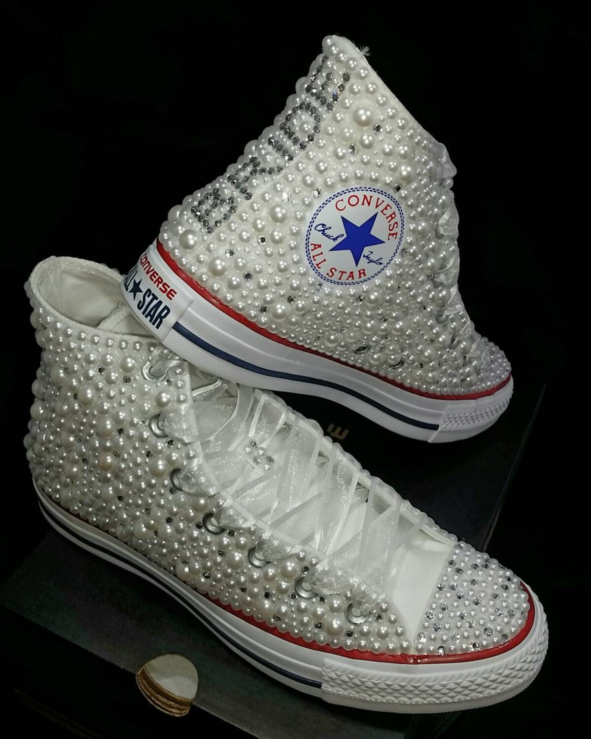 698f1696bd6a Wedding Converse Bridal Sneakers Bling   Pearls Custom