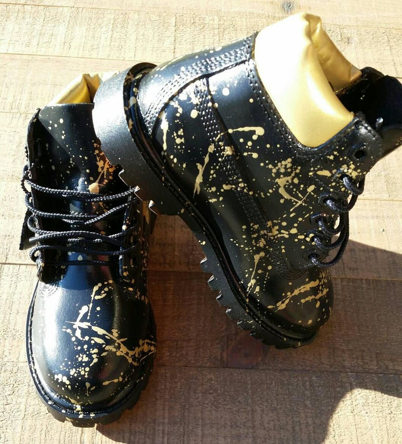 6990a60dd88f Black and Gold 24K Timberland Boots Custom Timberlands Mens