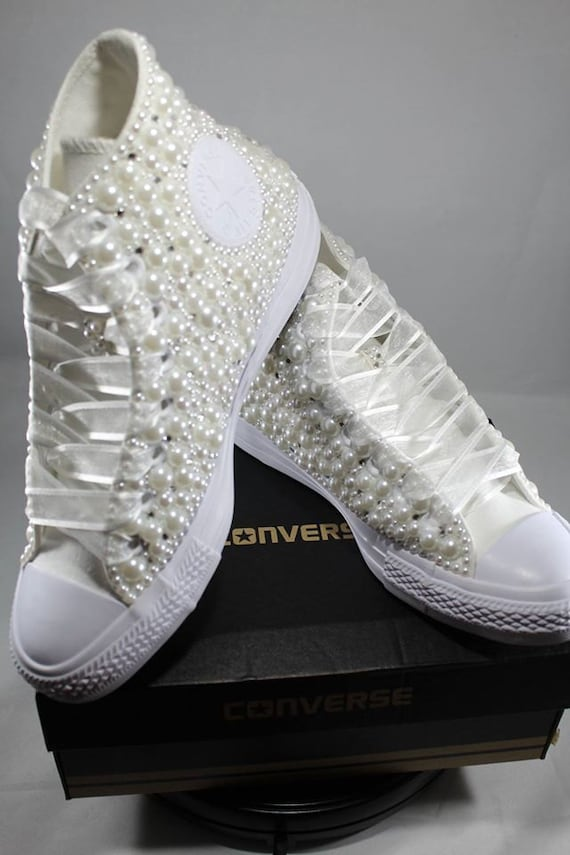Wedding Converse Bridal Sneakers Bling Pearls Custom Etsy