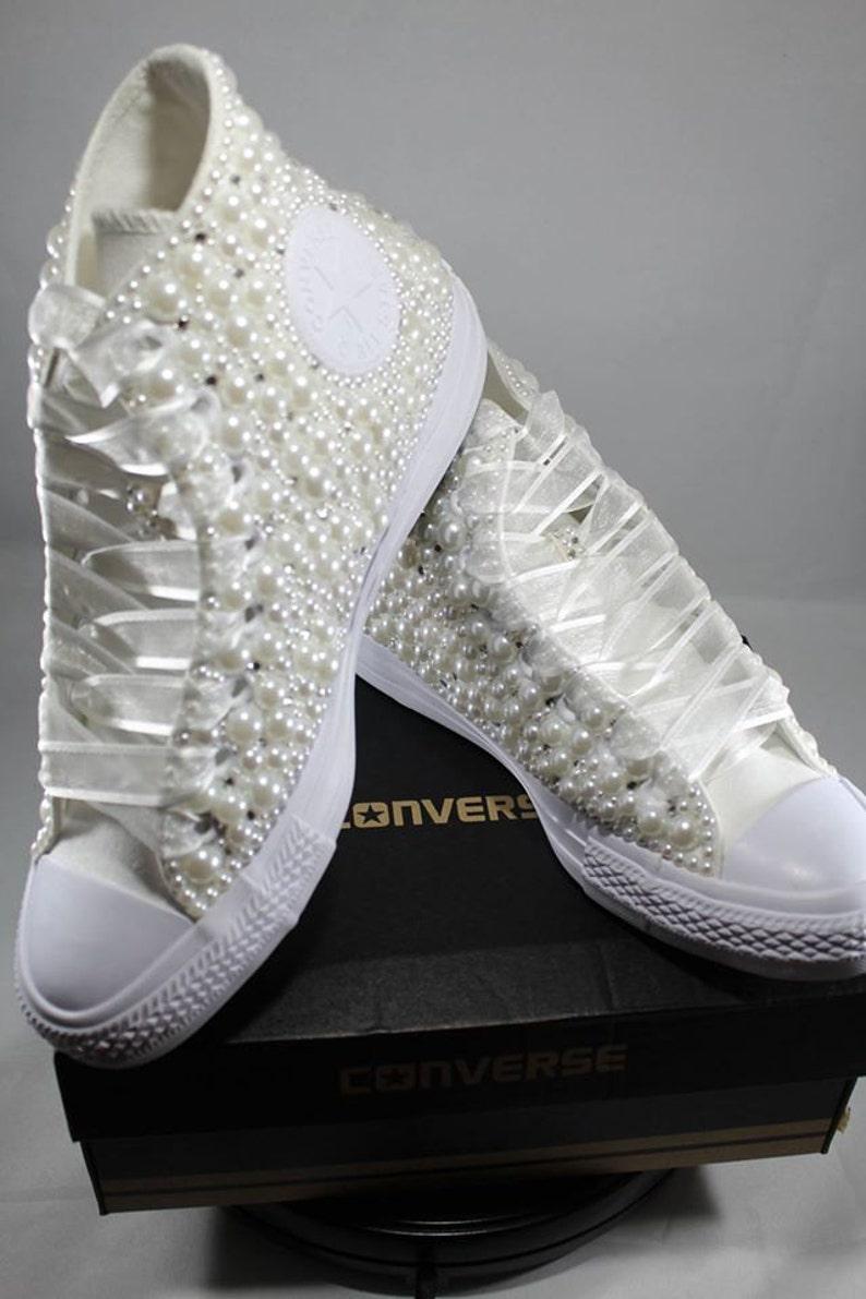 Wedding Converse Bridal Sneakers Bling   Pearls Custom  3934efc2f