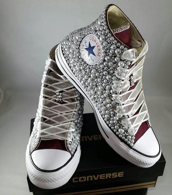 d977b2e92caa Wedding Converse Bridal Sneakers Bling   Pearls Custom