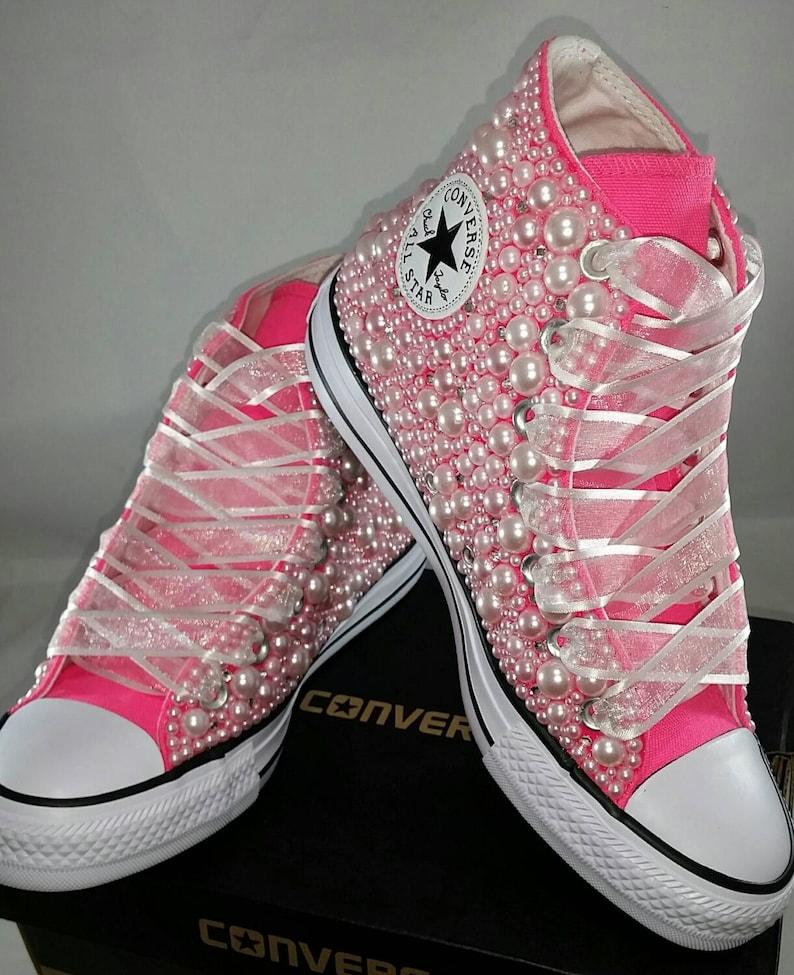 4563658d8e22 Wedding Converse Bridal Sneakers Bling   Pearls Custom