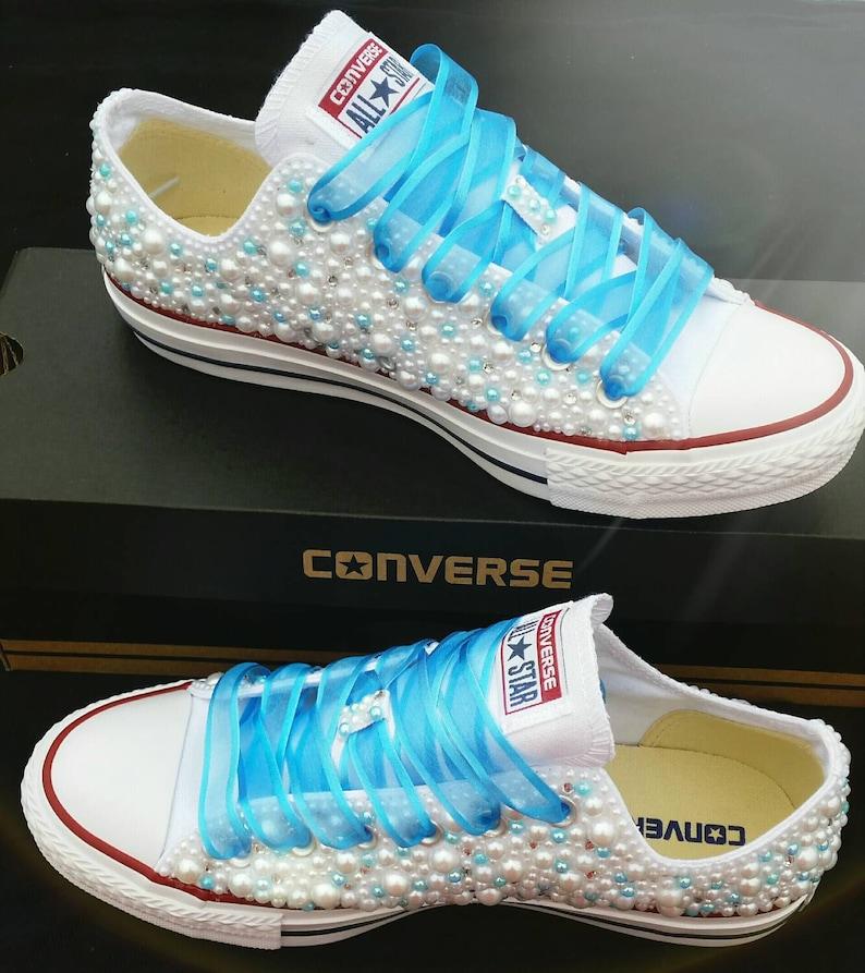 230131c2552d Wedding Converse Bridal Sneakers Bling   Pearls Custom