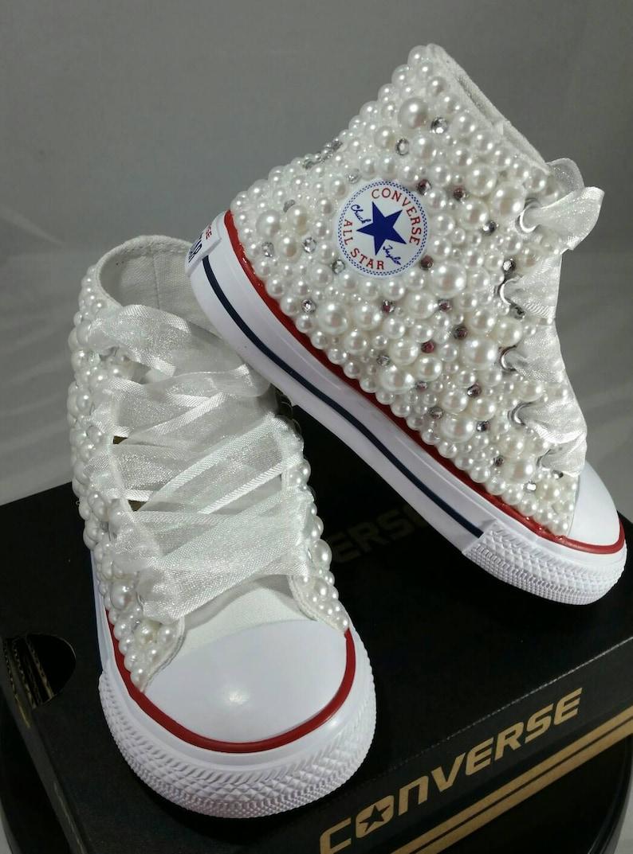 c13b08f3cf1a Flower Girl Wedding Converse Bridal Sneakers Bling   Pearls