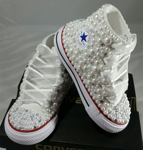 66b82c9b4f29 Flower Girl Wedding Converse Bridal Sneakers Bling   Pearls