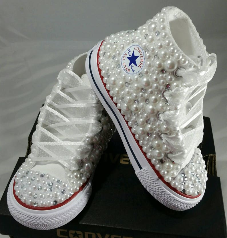 aac3bf1052ca Flower Girl Wedding Converse Bridal Sneakers Bling   Pearls