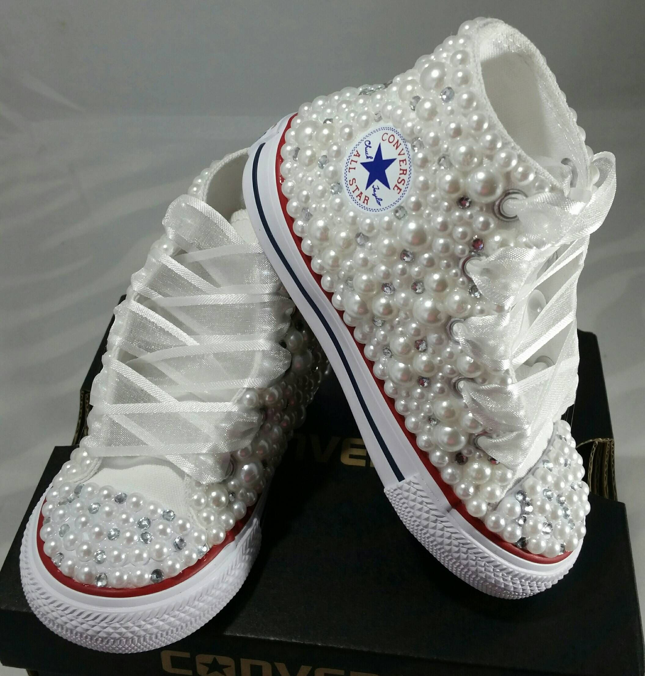 Flower Girl Wedding Converse Bridal Sneakers Bling Pearls Etsy