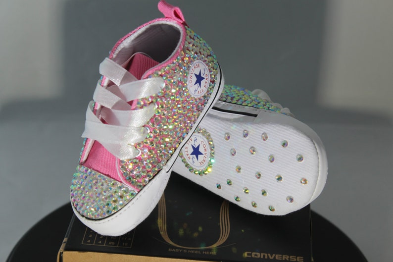 5aed9ad66a4a Custom Converse Baptism Christening Baby Bling Converse