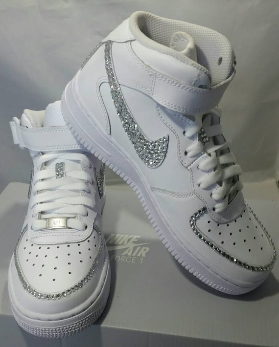 Personalizzato Bling Air Force Ones Bling Bling scarpe da Tennis & perle Baby Bling Nikes AF1s Custom scarpe da Tennis indiavolato (Bedazzled)