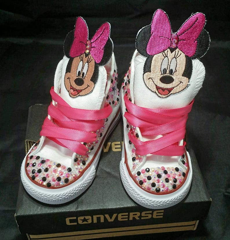 3e55e3c329be Girls Custom Converse Kids Converse Bling Converse Minnie