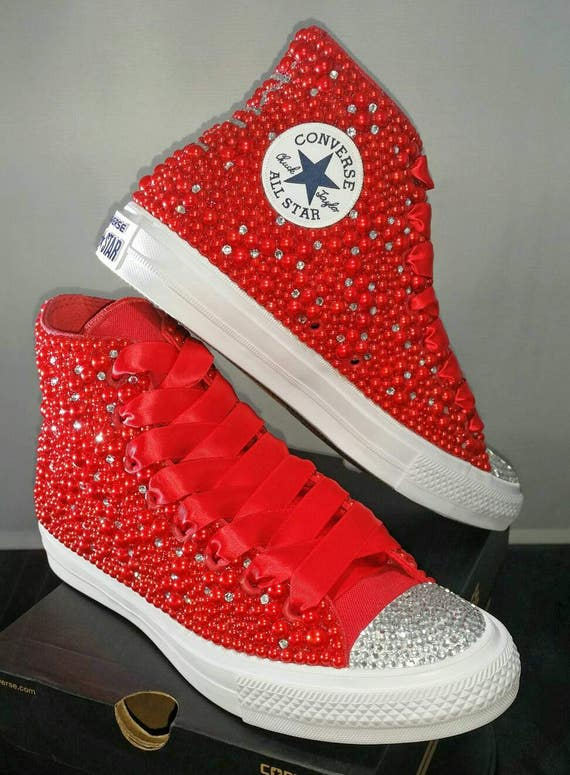 9e2a201e346e Wedding Converse Bridal Sneakers Bling   Pearls Custom