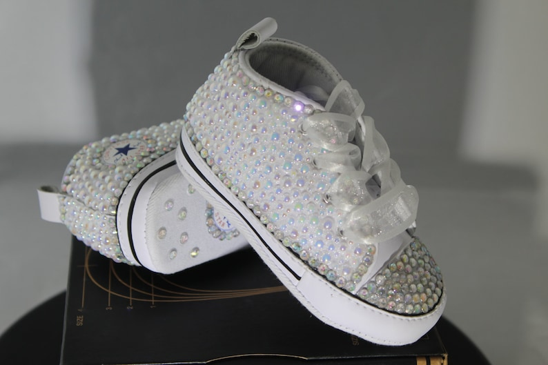9d36cac5a4ea Custom Converse Baptism Christening Baby Bling Converse