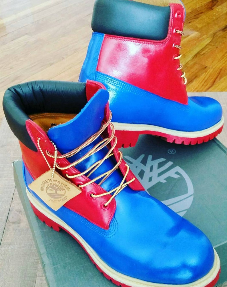 online store 23990 176f1 Red and Blue Timberland Boots Custom Timberlands Mens   Etsy