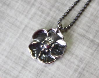 READY TO SHIP - Silver Flower Necklace, Fine Silver and Sterling Silver, Precious Metal Clay, Five Petal Floral Pendant