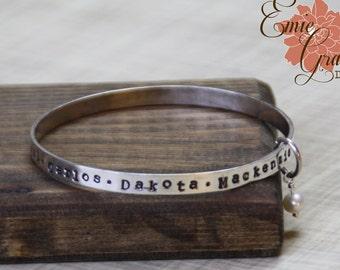 Sterling Silver Bangle Bracelet with Pearl, Moms Names Bracelet, Personalized Message, Grandmas Bracelet, Hand Stamped Cuff