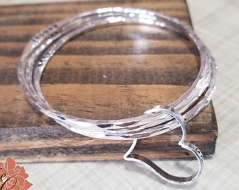 Sterling Silver Bangles with Message Heart, Mothers Names Bracelet, Grandma's Bracelet, Hand Stamped Names, Personalized