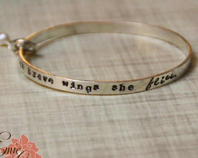 Sterling Silver Bangle Hand-Stamped with Have Courage and be Kind