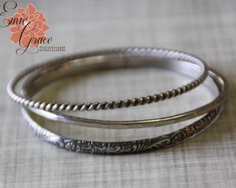 Sterling Silver Bangle Bracelet Trio, Bangles Set, Twisted,  Floral, Hammered,  Oxidized Silver Bracelet Set