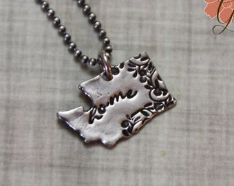 READY To SHIP - Washington State Necklace, Home Necklace, Fine Silver and Sterling Silver, Precious Metal Clay, PMC